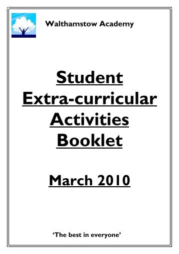 Student Extra-curricular Activities Booklet - Walthamstow Academy
