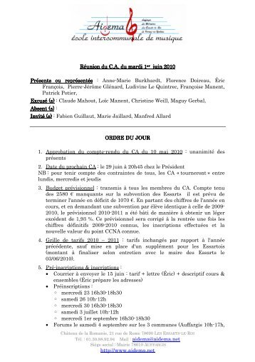 http://www.aidema.net Réunion du C.A. du mardi 1 er juin 2010 juin ...