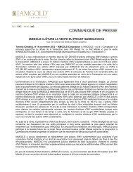 Télécharger le communiqué de presse (PDF 270 KB) - Iamgold