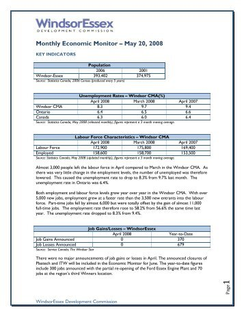 Monthly Economic Monitor: May 2008 - Windsor Essex Economic ...