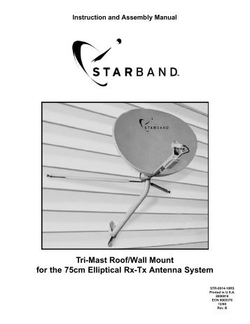 Tri-Mast Roof/Wall Mount for the 75cm Elliptical Rx-Tx Antenna System