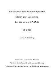 Automaten und formale Sprachen Skript zur Vorlesung 14 ...