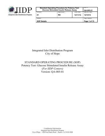 QA-005 Potency Test: Glucose Stimulated Insulin Release Assay