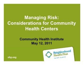 Managing Risk - Massachusetts League of Community Health Centers