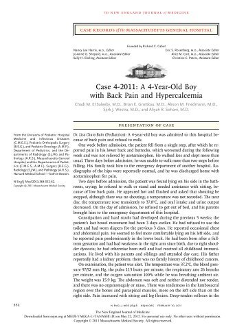 Case 4-2011: A 4-Year-Old Boy with Back Pain and Hypercalcemia