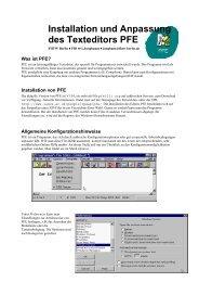 Konfiguration und Installation des Texteditors PFE