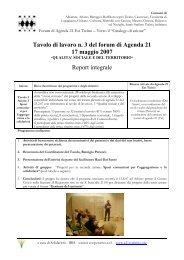 Tavolo di lavoro n. 3 del forum di Agenda 21 17 maggio 2007 Report ...