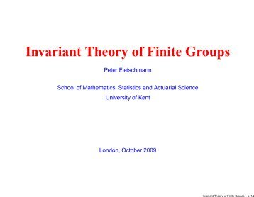 Invariant Theory of Finite Groups