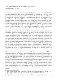 The Biblical Elijah: A Model for Spirituality