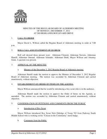Regular Board of Aldermen 12/17/2012 Page 1 MINUTES OF THE ...