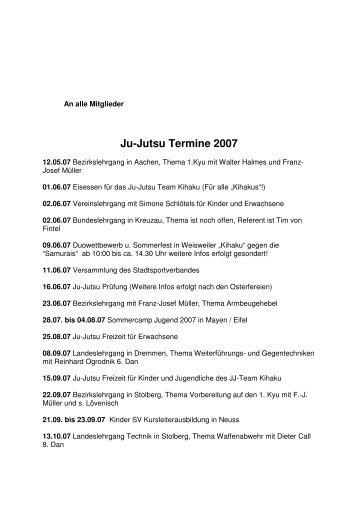 Ju-Jutsu Termine 2007 - TuS Rheinland Dremmen
