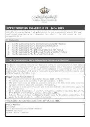 OPPORTUNITIES BULLETIN # 73 - June 2009 - The Royal Film ...