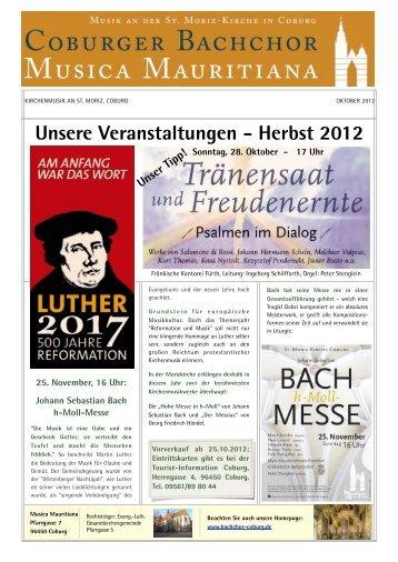 Unsere Veranstaltungen - Herbst 2012 - beim Bachchor Coburg