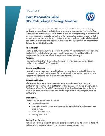 Exam Preparation Guide Hp2 K23 Ing Hp Storage Solutions