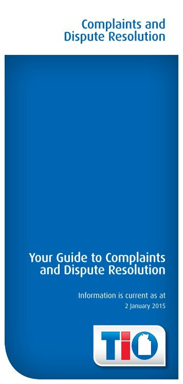 Complaints and Disputes Resolution Brochure