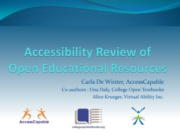 Accessibility review of Open Educational Resources - EPR