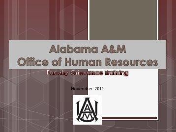 AAMU Faculty Grievance Training - Alabama A&M University