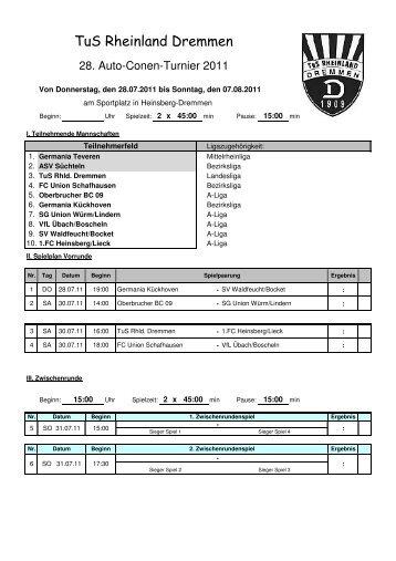 Spieplan Conen-Cup 2011 - TuS Rheinland Dremmen