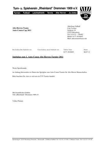 Spieplan AH-Turnier 2011 - TuS Rheinland Dremmen