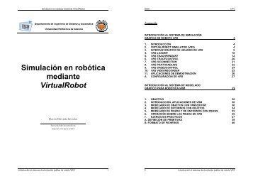 Simulación en robótica mediante VirtualRobot - PoliformaT - UPV