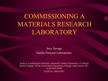 commissioning a materials research laboratory - Labs21 ...