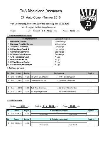 Spieplan Conen-Cup 2010 - TuS Rheinland Dremmen