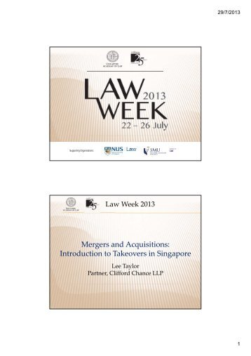 M and A - Lee Taylor - Singapore Academy of Law