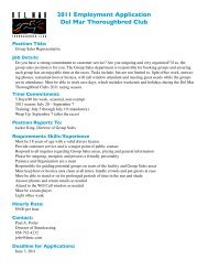 2011 Employment Application Del Mar Thoroughbred Club