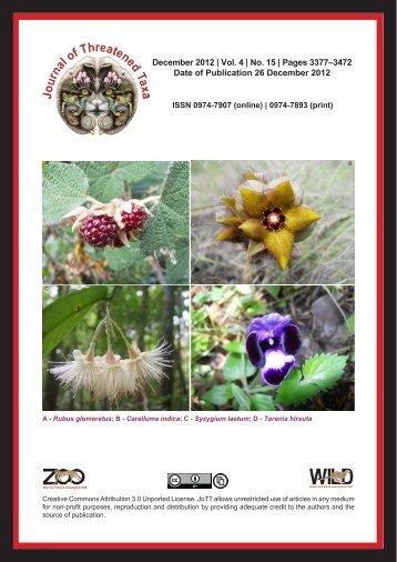 December 2012 - Journal of Threatened Taxa