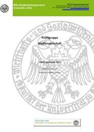 Profilgruppe Medienwirtschaft - Universität zu Köln