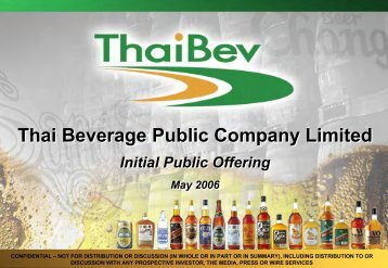 Bt 92.1 bn - Thai Beverage Public Company Limited