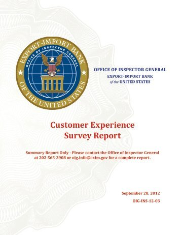 Customer Experience Survey Report - Export-Import Bank of the ...