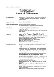 Betriebsanweisung - Fachrichtung Chemie und Lebensmittelchemie