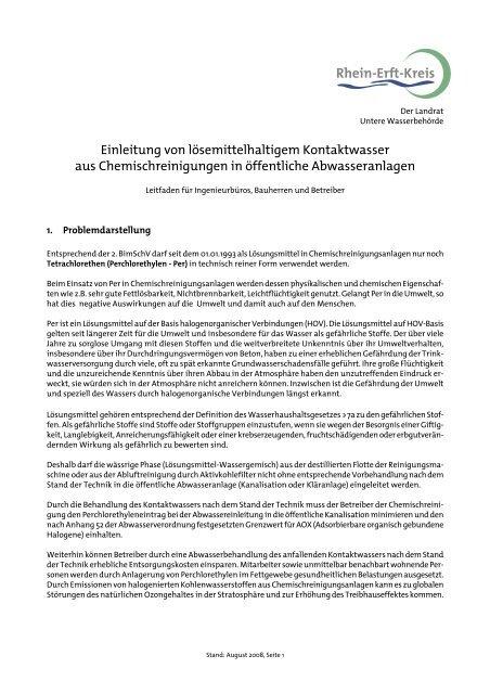 Merkblatt Chemischreinigung - Rhein-Erft-Kreis