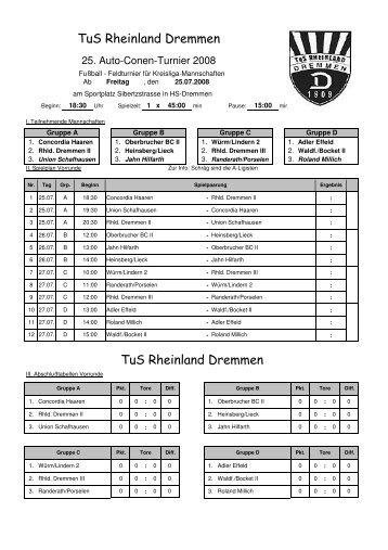 Turnierplan 2008 - TuS Rheinland Dremmen