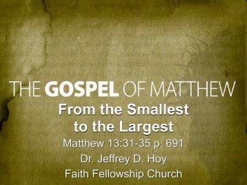 Parables of the Kingdom. - Faith Fellowship Church