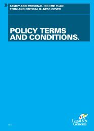 POLICY TERMS AND CONDITIONS. - Legal & General