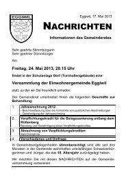 Mitteilungen des Gemeinderates - Eggiwil