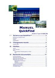 I - Qu'est-ce que QuickFind - Europa