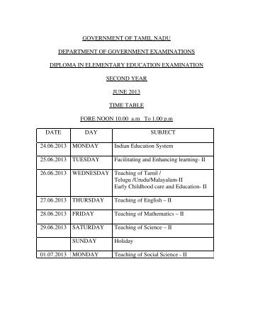 Diploma in Elementary Education : Examination Time Table
