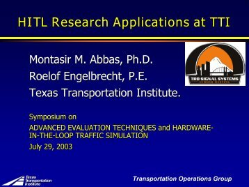 Research Applications in Texas - Traffic Signal Systems Committee