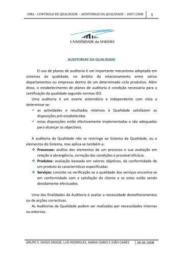 AUDITORIAS DA QUALIDADE O uso de planos de auditoria é um ...