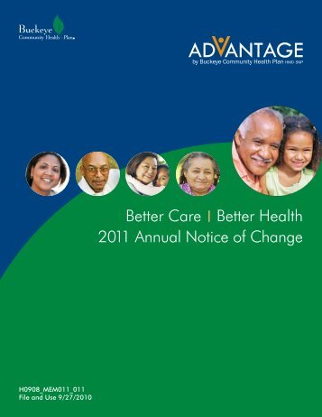 Annual Notice of Changes for 2011 - Medicare Advantage - Buckeye ...
