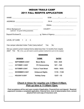 Fall Respite Application 2011 - Indian Trails Camp