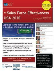 8th Sales Force Effectiveness USA 2010