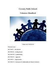 Volunteer Handbook - Coventry Public Schools