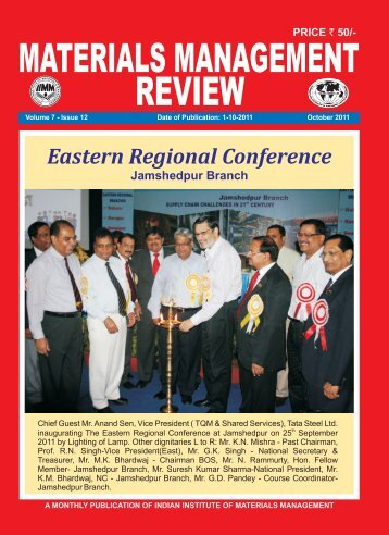 Cover October 2011 Pesting - Indian Institute of Material Management