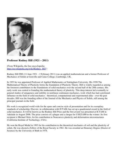 Professor Rodney Hill (1921 – 2011) - Shellbuckling com