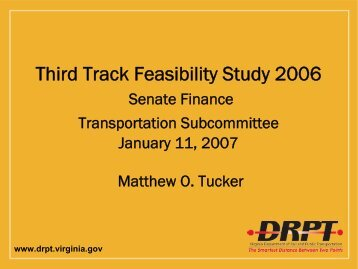 DRPT – 3rd Rail Study - Virginia Senate Finance Committee