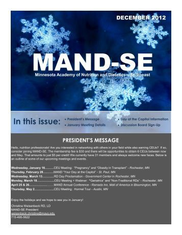 December 2012 Newsletter - Minnesota Academy of Nutrition and ...